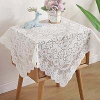 Khăn trải bàn vải ren hoa thêu sang trọng theo phong cách vintage, tấm vải phủ lò vi sóng, tivi, tap đầu giường trang trí nhà cửa KB-6012