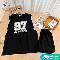 Bộ thể thao ba lỗ nam nữ BT42 unisex, set đồ tập gym sát nách dáng rộng phong cách Hàn Quốc, chất vải mát