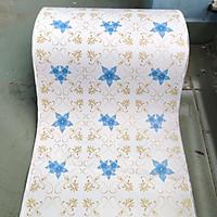 1m decal giấy dán tường hoa ly xanh khổ 45cm keo sẵn