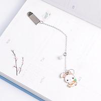 Bookmark kim loại mặt dây chuyền đính ngọc trai sáng tạo - Thỏ trắng