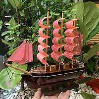 [Đã lắp ráp sẵn] Mô hình thuyền gỗ trang trí - Thuyền France của Pháp - Chiều Dài 27cm - Buồm vải màu hồng