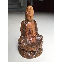 Phật quan âm gỗ bách xanh, đường kính 9cm x cao 16cm, thích hợp để bàn hoặc ô tô