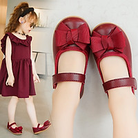 Giày búp bê bé gái 1 - 5 tuổi da mềm màu đỏ gắn nơ dễ thương phong cách Hàn GE92