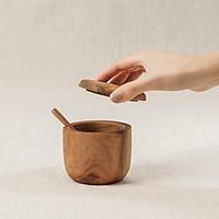 Hũ gia vị kèm thìa gỗ keo (7x7cm)