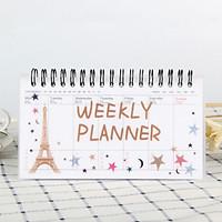Sổ vở kế hoạch Weekly Planner lò xo 100 trang 9x16cm - Tháp Eiffel trăng sao