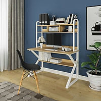 Bàn học, bàn làm việc ván gỗ công nghiệp chân sắt sơn tĩnh điện có kệ sách - Kích thước 120x60cm - DK100