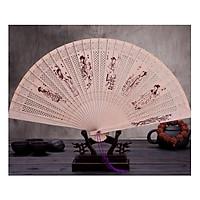 Quạt xếp cầm tay cổ trang gỗ thơm LỤC NỮ có dây tuyến phong cách Trung Quốc