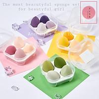 Set 4 bông mút trang điểm hình trứng - Có hộp đựng