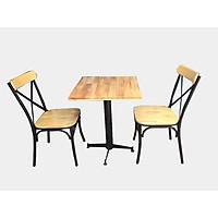 Bộ bàn 2 ghế gỗ khung sắt