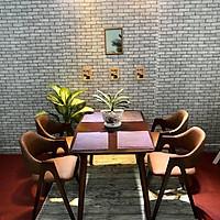 Bộ bàn ăn chữ A màu nâu 4 ghế