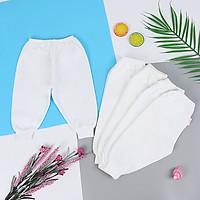 Set 5 quần sơ sinh dài màu trắng cho bé từ 2 - 4 kg
