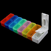 Detachable 14 Slots 7 Day Tablet Pill Storage Box + Medicine Cutter Splitter