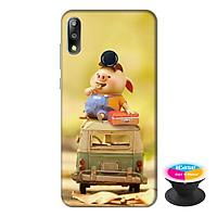 Ốp lưng điện thoại Asus Zenfone Max Pro M2 hình Heo Con Ham Ăn tặng kèm giá đỡ điện thoại iCase xinh xắn - Hàng chính hãng