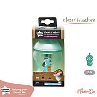Bình sữa ty siêu mềm tự nhiên Tommee Tippee Closer to Nature 260ml, núm ty đi kèm 3-6 tháng – Xanh ngọc