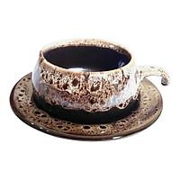 Bộ Tách Coffee Đĩa Lõm - Gốm Sứ Bát Tràng - P06T - Màu Trắng Gấm