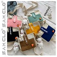 Túi đeo chéo nữ SAM CLO mini bag canvas khóa kéo búp bê thời trang hàn quốc dễ thương, đi chơi, đi học chữ FOREVER
