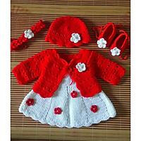 Set đồ bé gái, set đồ len sơ sinh cho bé đến 12 tháng.