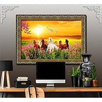 Bức tranh ngựa treo tường bát mã - MÃ ĐÁO THÀNH CÔNG chất liệu in vải lụa hoặc giấy ảnh bóng gương Mã số:L8F-00401382L8