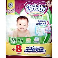 Tã quần Bobby - Đệm Lưng Thấm Mồ Hôi M76 (76 miếng) - Tặng 8 miếng trong gói