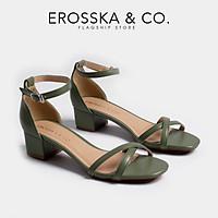 Giày cao gót mũi vuông block heels Erosska hở mũi quai chéo thời trang cao 3 phân EB005 (ND)