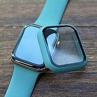 Ốp case silicon siêu mỏng bề mặt kính cường lực bảo vệ 360 độ cho Apple Watch 40mm hiệu HOTCASE che phủ toàn bộ bề mặt (bảo vệ 2 chiều, chống vân tay, chống bám bẩn, cường lực 9H) - Hàng nhập khẩu