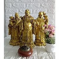 Bộ tượng đá poly Phúc Lộc Thọ đại màu đồng TDD37