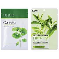 Combo 2 Mặt nạ trắng da hỗ trợ điều trị mụn  (1 Beauskin Rau má  và 1 Mặt nạ trà xanh benew)