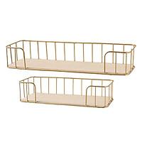 Wall-Mounted Golden Metal Wire Storage Baskets Display Bin Racks,Set Of 2