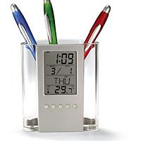 Đồng hồ để bàn kiêm hộp đựng bút Ver2 Tròn ( tặng kèm đèn led mini cắm cổng USB )