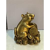 Tượng Chuột ôm dây tiền bằng đồng cao 12cm