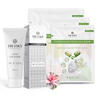Bộ sản phẩm ngừa mụn trắng da mặt Truesky M04 gồm 1 sữa rửa mặt than hoạt tính 60ml + 3 miếng mặt nạ dưỡng da Truesky