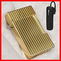 Combo Hộp Quẹt Bật Lửa Gas Đá D154 Kẻ Sọc Đứng Cao Cấp + Tặng Tai Nghe Bluetooth BT01 Kiểu Dáng Thể Thao ( Màu Ngẫu Nhiên )