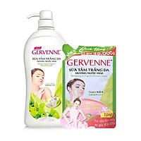 Sữa tắm trắng da hương nước hoa Goas't Milk & Green Lily 900g Gervenne +Tặng túi sữa tắm 450g