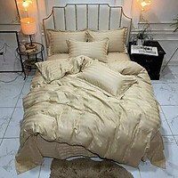 Bộ 5 món vỏ chăn drap gối cotton lụa 3F sọc 3 phân cao cấp A - dành cho khách sạn, homestay, nhà nghỉ ( hàng loại 1) + tặng kèm 1 túi thơm thảo dược