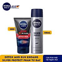 Combo Nivea MEN Sữa rửa mặt Detox Mud Bùn Khoáng - 83940 & Xịt Ngăn Mùi Silver Protect Phân Tử Bạc (150ml) - 82959