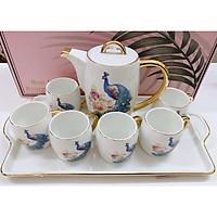 Bộ ấm chén kèm khay sứ pha trà cà phê cao cấp họa tiết chim công