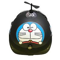 Combo Mũ Bảo Hiểm 1/2 Nửa Đầu Doremon Đen + Chong chóng + Kính phi công chống bụi, chống nắng