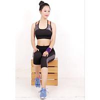 Bộ thể thao lửng nữ ANSA phối lưới áo bra màu đen - DL701