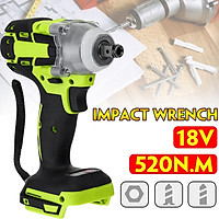 18V 520Nm Electric Rechargeable Brushless Impact Cordless 1/2 Socket Wrench Power Tool NEW 0-4000 rpm
