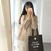 TÚI VẢI CANVAS ĐEN (tote shopping bag) CÓ CÂU KINH THÁNH CƠ ĐỐC (5 mẫu)
