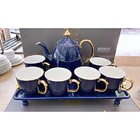 Bộ ấm chén kèm khay sứ có chân pha trà cà phê màu xanh tím dáng bầu mang phong cách Châu Âu sang trọng - ANTH39