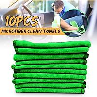 10pcs Green Microfibre Cleaning Auto Car Detailing Soft Cloths Wash Towel Duster
