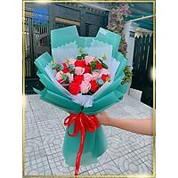 Hoa Giả  Hoa Hồng Sáp 2 Màu Kết Lá