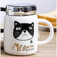 Ly cốc sứ giữ nhiệt Meow star rescue nắp tráng gương trắng đầu mèo đen 500ml