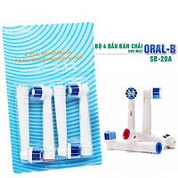 Cho máy Braun Oral-B, Bộ 4 đầu bàn chải đánh răng điện Dan House SB-20A, tẩy sạch cao răng, làm sạch vết ố, chăm sóc nưới lợi, loại cước mềm