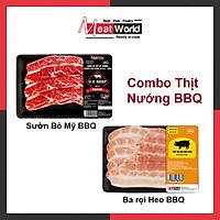 Combo BBQ Meat World(Sườn bò Mỹ 300g & Ba rọi heo 500g nướng BBQ)