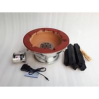 combo 1 bếp nướng than hoa  có quạt gió tròn  tặng 1kg than không khói 30