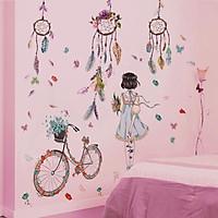 Decal dán tường chuông gió và cô gái xe đạp - HP208