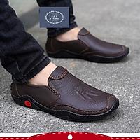 Giày da nam cao cấp, Giày lười nam đẹp chất liệu da bò đế cao su cực bền - Mã GEA88