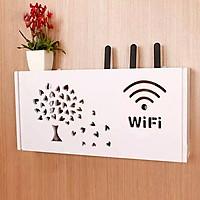 Kệ wifi Cây Lá Trái Tim treo tường không khoan tặng kèm móc treo cường lực - chữ nhật